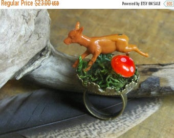 SALE The Frolic Boho Ring. Whimsical diorama type statement ring with  running deer, mushroom and genuine moss.