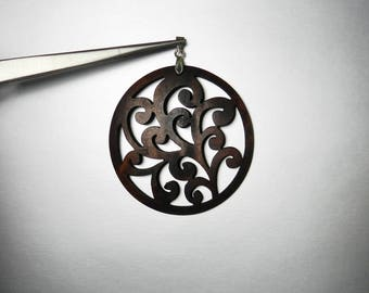 Brown Wood Carved Pendant Round Woodland Tree Swirl Pattern Laser Cut