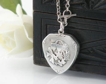 Antique Locket | Forget-Me-Nots & Hearts | Sterling Silver Edwardian Locket | 1914 Wedding Locket Necklace | Silver Shield - 17 Inch Chain