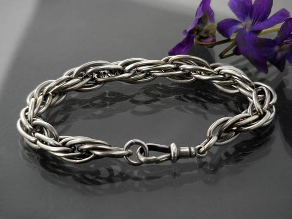 Antique Sterling Silver Chain Bracelet | Heavy, Ornate Link Fob Chain & Dog Clip Clasp | Wide Braided Chain Bracelet - 7 Inch Wrist Size