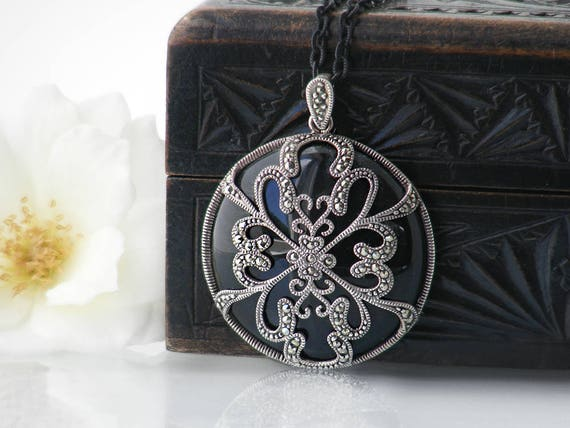Vintage Pendant | Marcasite, 925 Sterling Silver & Black Glass Pendant Necklace, Ornate Pendant - 34 Inch Long Black Chain + Necklace Wire