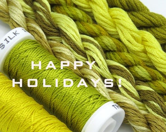 Free Design, PDF, Silk thread, needlepoint design, silk fibers, embroidery thread assortment, yellow, green, hand dyed thread, holiday gift