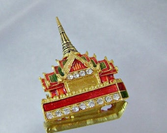 SALE Vintage Palace Brooch.  Asian Palace.  Forbidden City.  Red Green Enamel.  Rhinestones.