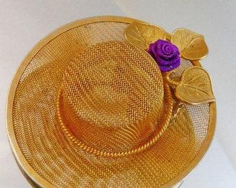 SALE Vintage Gold Mesh Hat Brooch. Purple Rosebud Hat Pin.