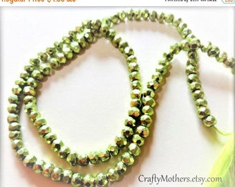 "7% off SHOP SALE LIME Green Metallic Pyrite Faceted Rondelles, 3.5mm, 1/4 strand (3.25"" long), olive chartreuse"