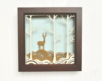 Birch forest art, papercut, papercutting designs, shadow box, shadow box art, wall decor, shadowbox, shadow box art, deer art, deer papercut