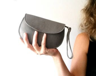 Gray leather purse - woman wallet