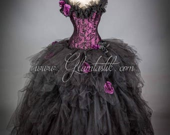Private listing for khristine7 ALL black burlesque tulle ball gown TWO pieces
