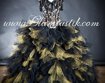 Custom Size Black and Gold lace chain and tulle Burlesque Corset Dress full length ballgown