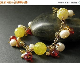 SUMMER SALE Gemstone Bracelet in Lemon Agate, Citrine Crystals and Fresh Water Pearl - Limited Edition. Handmade Bracelet.