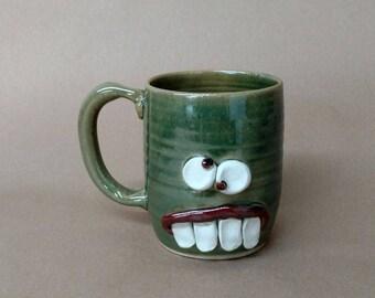Green Coffee Cup. Unique Gifts for Man Husband Boyfriend Coffee Lover. Green Tea Mug. Handmade Ceramic Pottery Funny Ug Chug Face Mug.