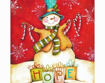 25% OFF PRINTS The Gift of Hope Snowman Print 8x10