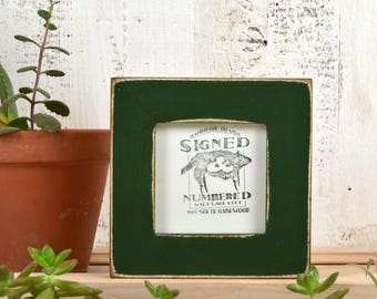 4x4 Square Picture Frame in 1.5 inch Standard Style with Super Vintage Forest Green Finish - IN STOCK - Same Day Shipping - Frame 4 x 4""