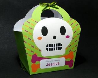 Kawaii Cute Halloween Skull Giftbag Spooky Skeleton Treat basket Packaging Editable Printable PDF