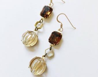1960's Czech made clear glass stones with topaz espresso hued stones from Austria circa 1950.