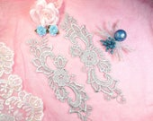 """Embroidered Lace Appliques Silver Floral Venice Lace Mirror Pair 10.5"""" (DH90X-sl)"""