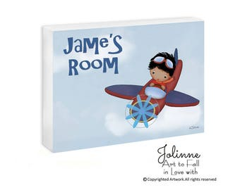 African American Boy Room Sign,Custom Name Sign Boys Room,Personalized Children's Decor ,Airplane Name Sign,Nave Blue Red Nursery Door Sign