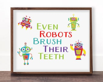 Funny Kids Bathroom Rules Signs Brush Your Teeth Robots