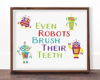 Bathroom Signs Brush Your Teeth bathroom signage | etsy