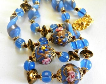 Stunning  authentic  Venetian Fiorato Wedding Cake beads necklace - Blue/bronze beads with delicate rose floret - art.911/4