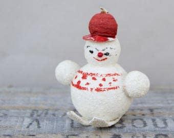 Vintage Christmas Snowman on Skis . Composition . Glitter . Mica . Christmas Decor. Ornament 1950s/Christmas Collectible