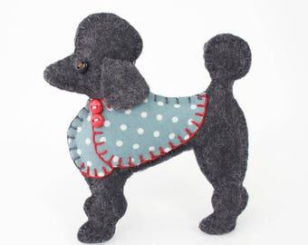 Poodle Christmas ornament, Felt dog ornament, Poodle ornament, Dog Christmas Ornament, Handmade felt Poodle, Black poodle ornament, Lulu.