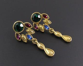 Jewel Tone Rhinestone Earrings, Multi Color Earrings, Long Earrings, Colorful Earrings, Jewel Tone Earrings, Gold Earrings, Dangle Earrings