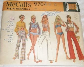 Uncut vintage 1969 McCALL'S Separates Pattern 49704 • size 10 • Blouse, Pants & Bathing Suit • Factory Folded