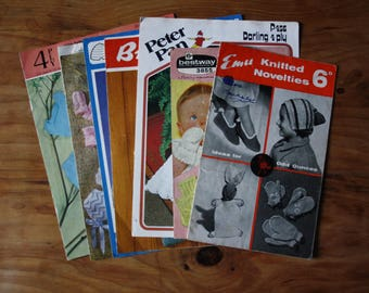 Lot of vintage childrens and babies knitting patterns for accessories