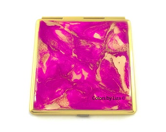 Square Compact Mirror Inlaid in Hand Painted Enamel Fuchsia and Gold Quartz with Color and Personalized Option