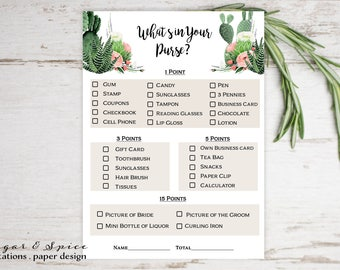 Bridal Shower Games, Whats in Your Purse Game, Bridal Shower Games Printable, Watercolor Bridal Shower, Bridal Shower Games