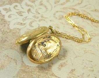 Antique Enamel Swan Locket Necklace, Victorian Locket, Gold Filled Locket, Enamel Locket, Scenic Locket, Water Scene Locket, Repousse Locket