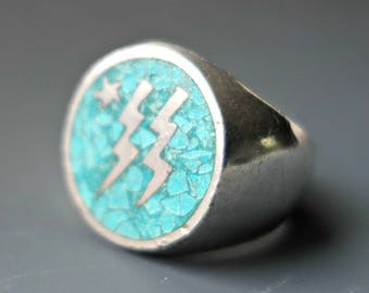 Lightning Strikes Twice Turquoise Sterling Ring