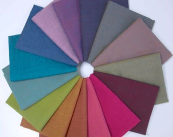 Kaffe Fassett - Shot Cottons - Fat Quarter Fabric Bundle - 15 woven solids