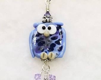 Periwinkle Artisan Lampwork Glass Pendant Necklace