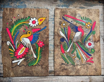 Pair of vintage Mexican Amate bark paintings of colorful birds Mexican folk art bohemian decor
