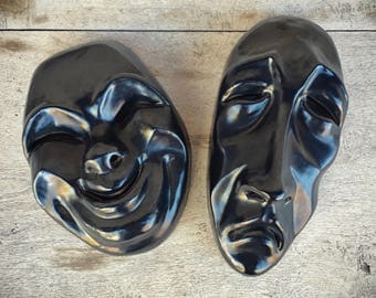 Frankoma Pottery Comedy Tragedy Masks Wall Art, Frankoma Masks, Wall Hanging
