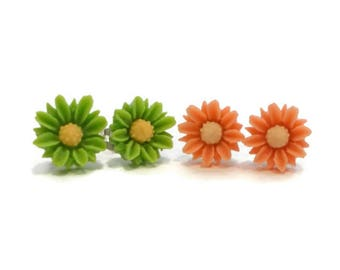 Tiny Flower Earrings, Orange and Green, Surgical Steel Posts for Sensitive Ears, Tween Jewelry, Cute Earrings, Stud Earrings, Post Earrings