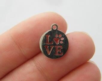 2 Paw print love charm silver tone D67