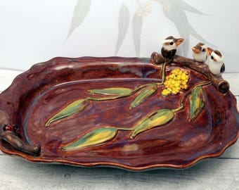 ceramic kookaburra & lady bird trinket sweet dish / soap dish / keys, coins, pin dish or ashtray Anita Reay / rustic dish / organic pottery