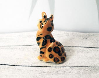 Porcelain Miniature ceramic bengal cat figurine hand crafted miniature kitten totem