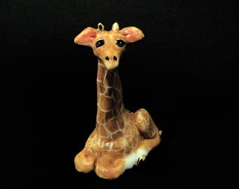 Porcelain Miniature ceramic giraffe figurine hand crafted miniature giraffe with 24k gold trim / ceramic animals / animal totems