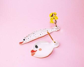 Fish Incense Holder Ceramic, Fish Incense Holder Hand-Built Pottery