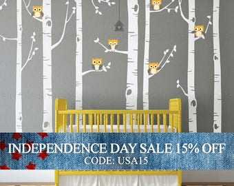 Independence Day Sale - Birch Tree Wall Decal, Birch Tree With Owls Wall Sticker Set, Birch Tree Decal, Baby Nursery Wall Stickers W1112