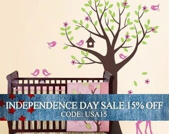 Independence Day Sale - Kids Wall Decals - Tree with Birds and Fawn Decal Set - Nursery Vinyl Wall Decal Art