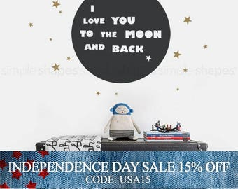 Independence Day Sale - I Love You To The Moon And Back Quote Lettering Wall Decal