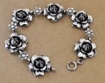 vintage find, GOTHIC ROSES, vintage oxidized black rose bracelet, statement piece, 3D rose flower bracelet, sterling silver rose bracelet