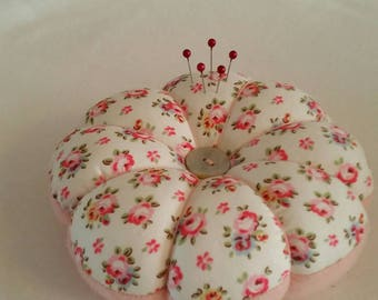Handmade Large Pin Cushion made from Cath Kidston White HAMPTON ROSE fabric and pink felt.  Sturdy and easy to use