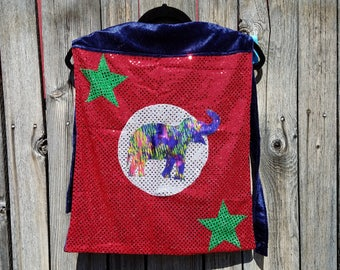 Child Tiny Size Elephant Cape in Purple or Red Sequin with Navy Blue or Purple Faux Velvet Lining