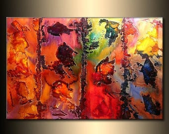 ORIGINAL Abstract Contemporary rich textured  Painting by Henry Parsinia Large 36x24